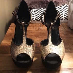 ALDO black and gold glitter heels